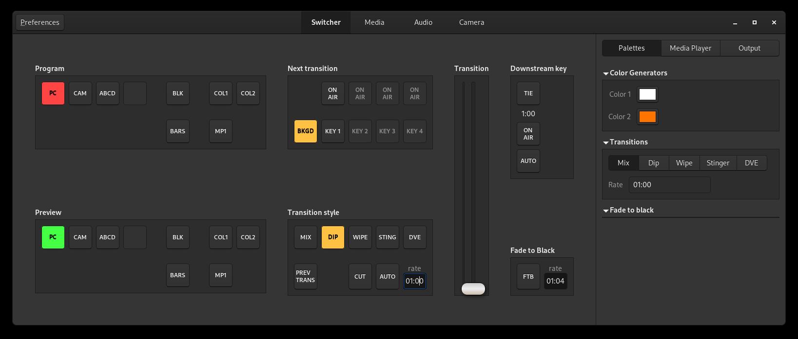 Screenshot of the control application